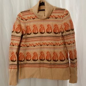 J. CREW Fair Isle Pear Pattern Turtleneck Sweater